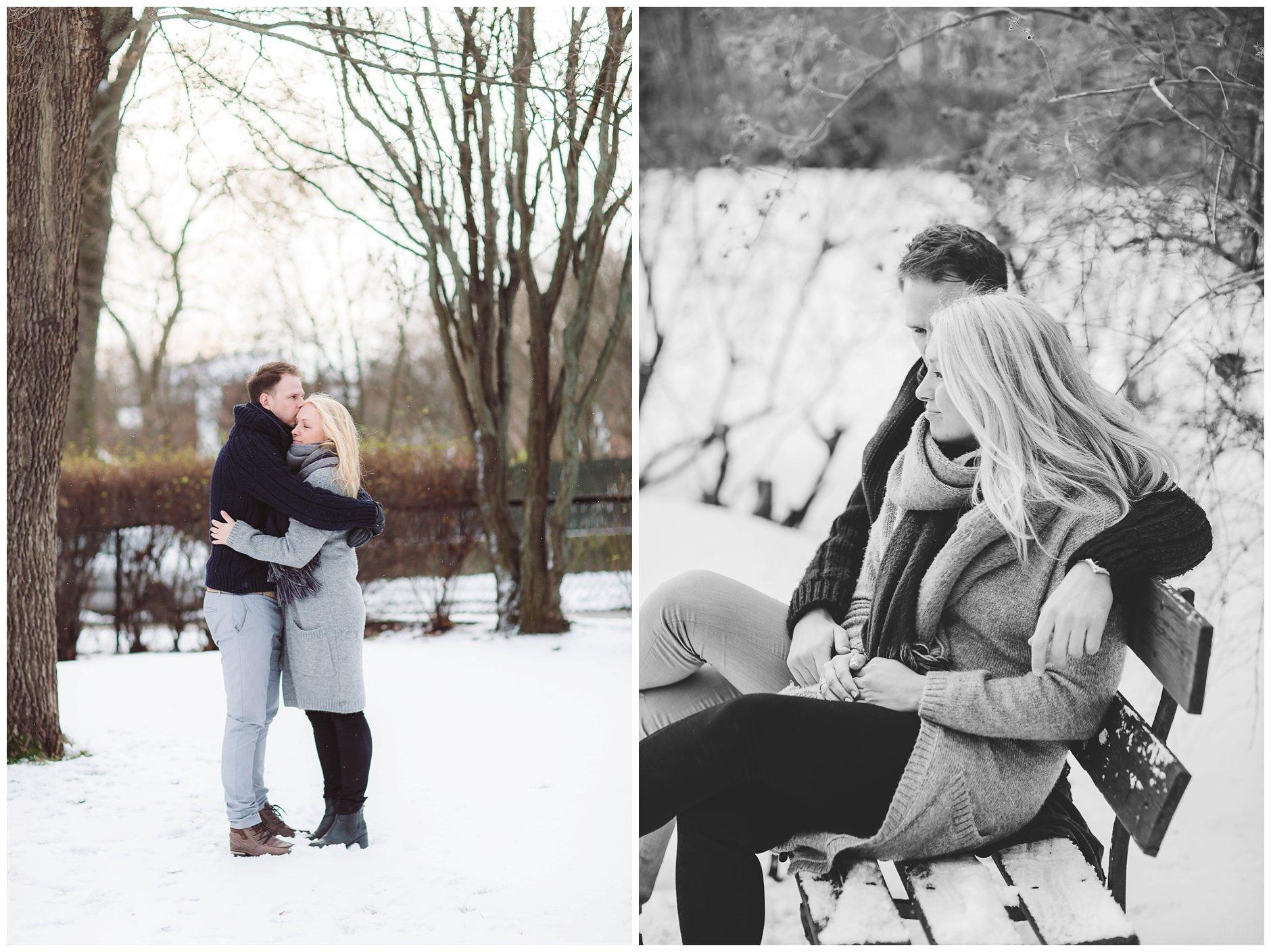vinterbilder av forlovet par