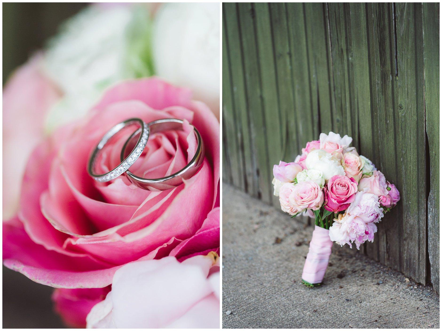 Fotograf-Eline-Jacobine-Bryllupsbilder-detaljer-Ullern-Vækerøparkenrosa-toner-brudebukett-peoner-roser-slitt-bakgrunn-rustikk-gifteringer-diamanter-hvitt-gull