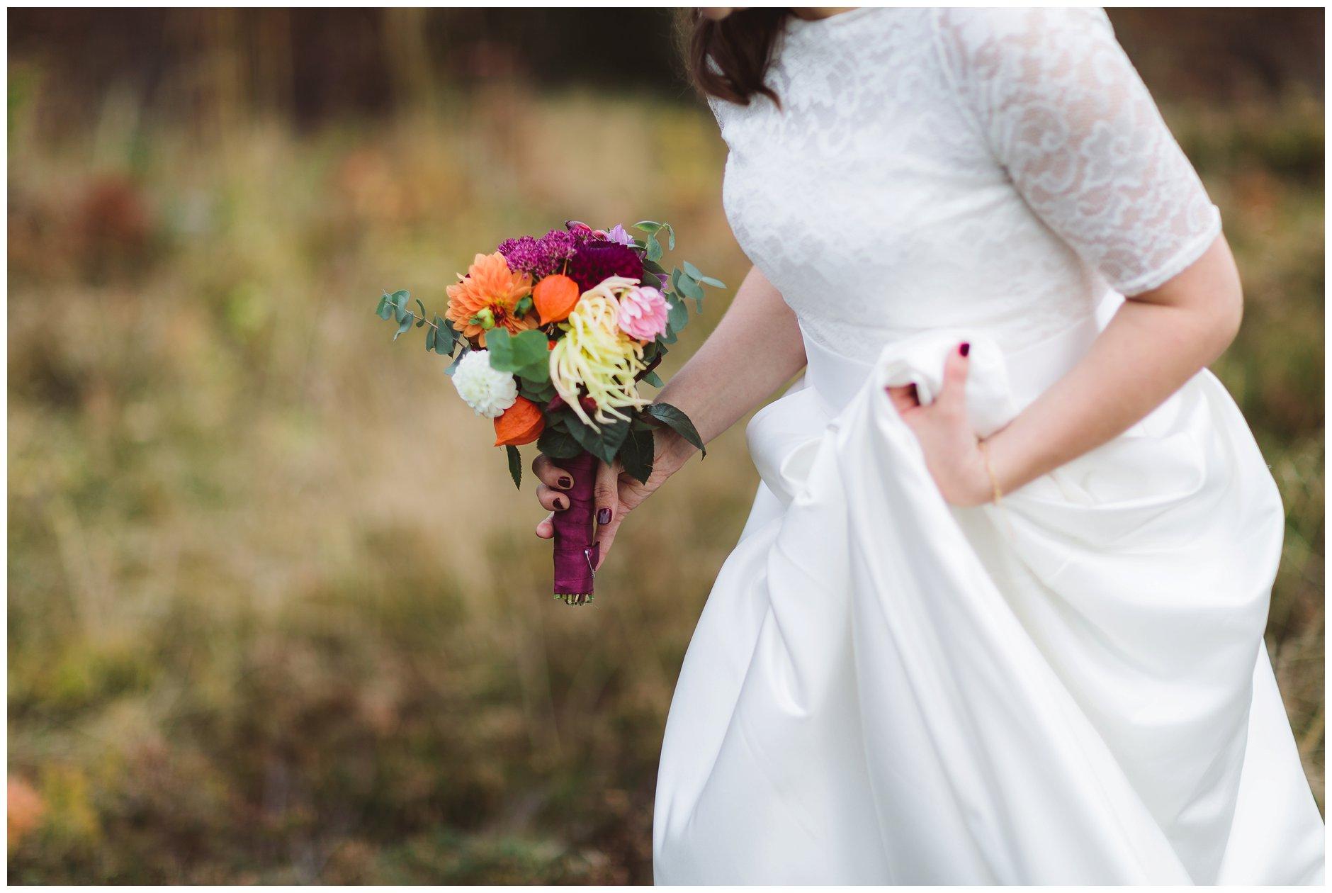 Brudekjole redesign Floyd brudebukett høstbryllup