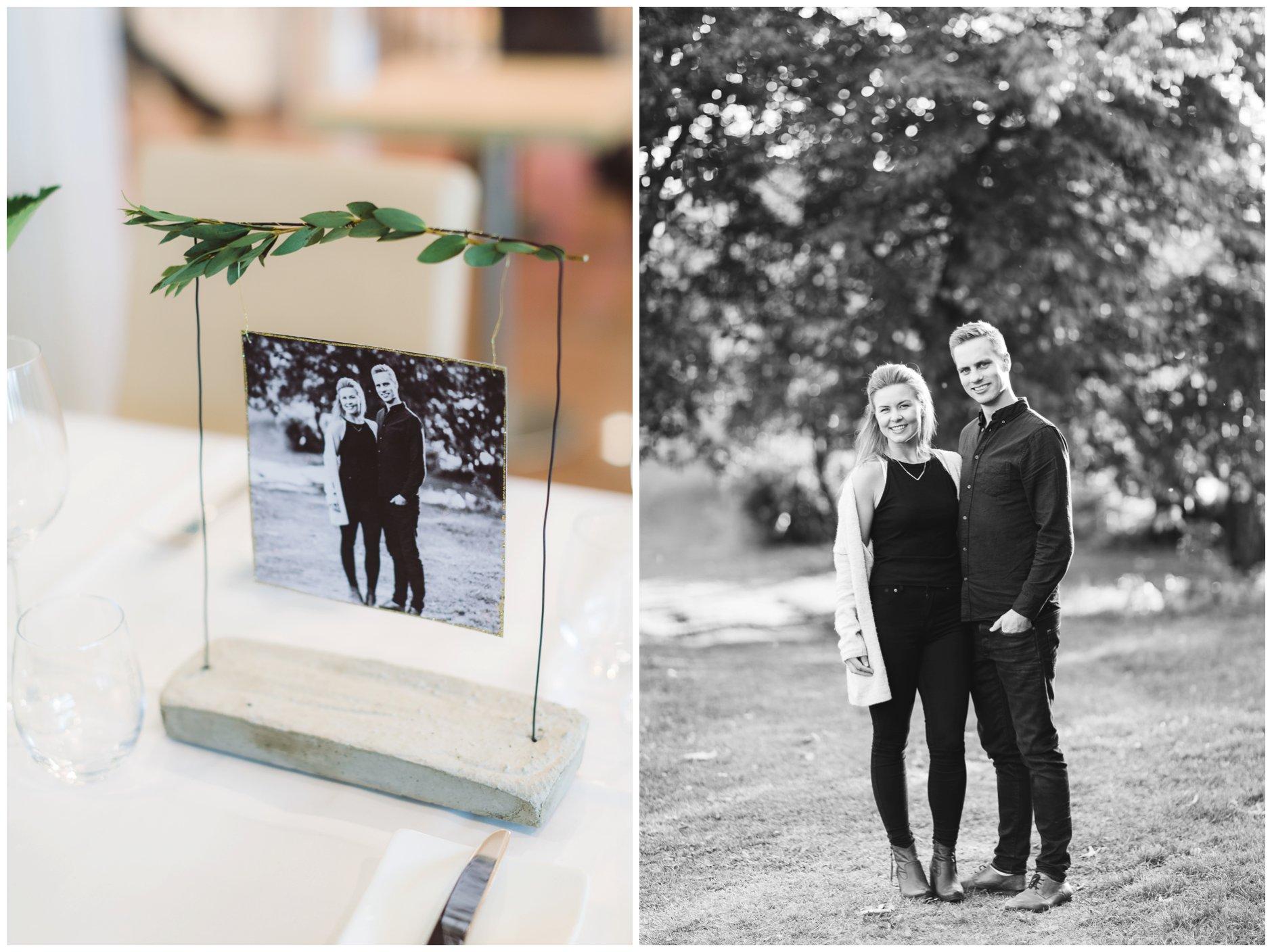 Tips til bruk av kjærestebilder i bryllupet - borddekorasjon