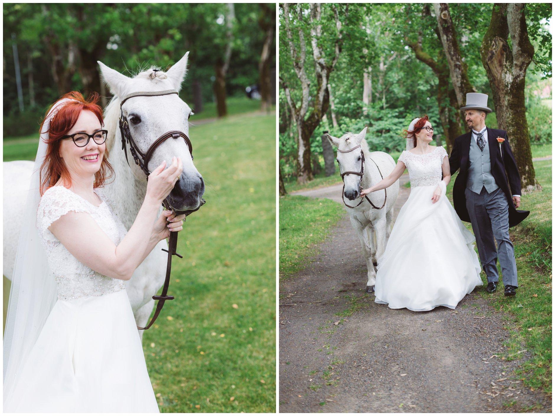 Brudepar med hvit hest