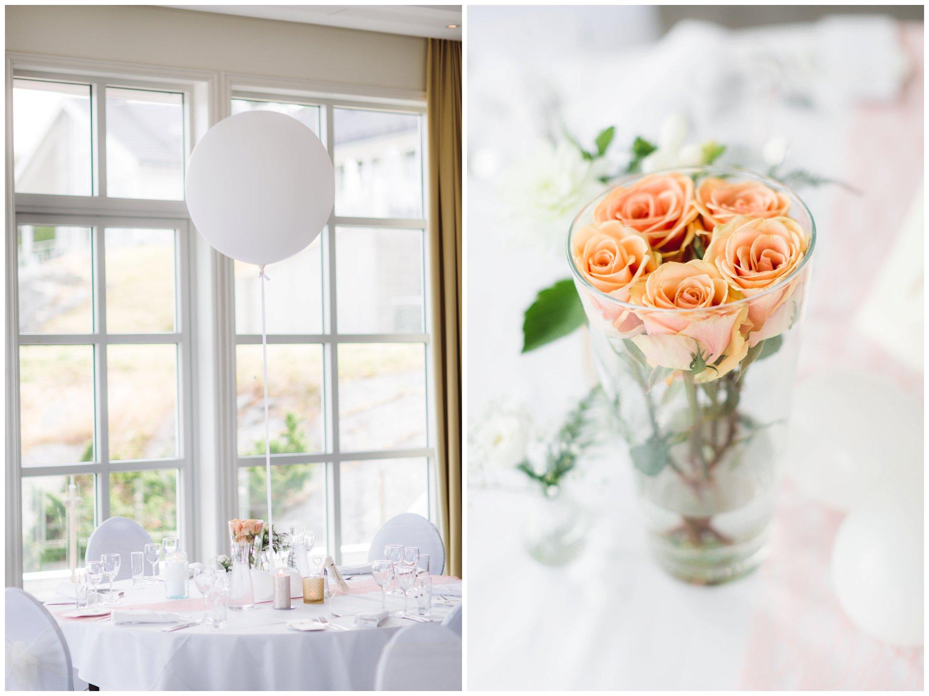 Pyntet bord bryllup på Scandic Tjøme med ballong