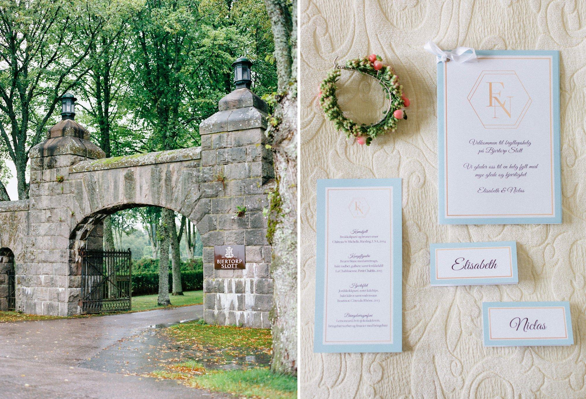 Bjertorp slott gate and wedding stationary