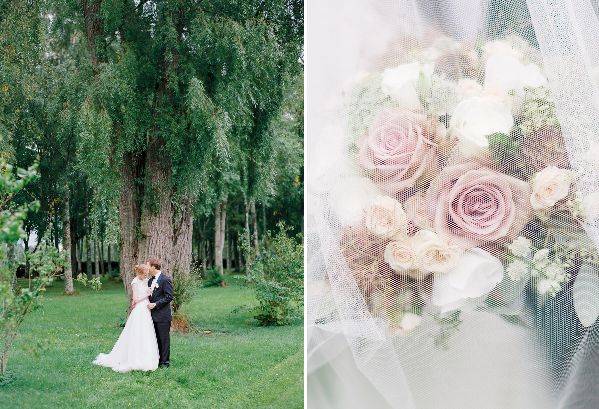 Bride and groom at their wedding in Sweden and Bjertorp slott plus floral detail under veil