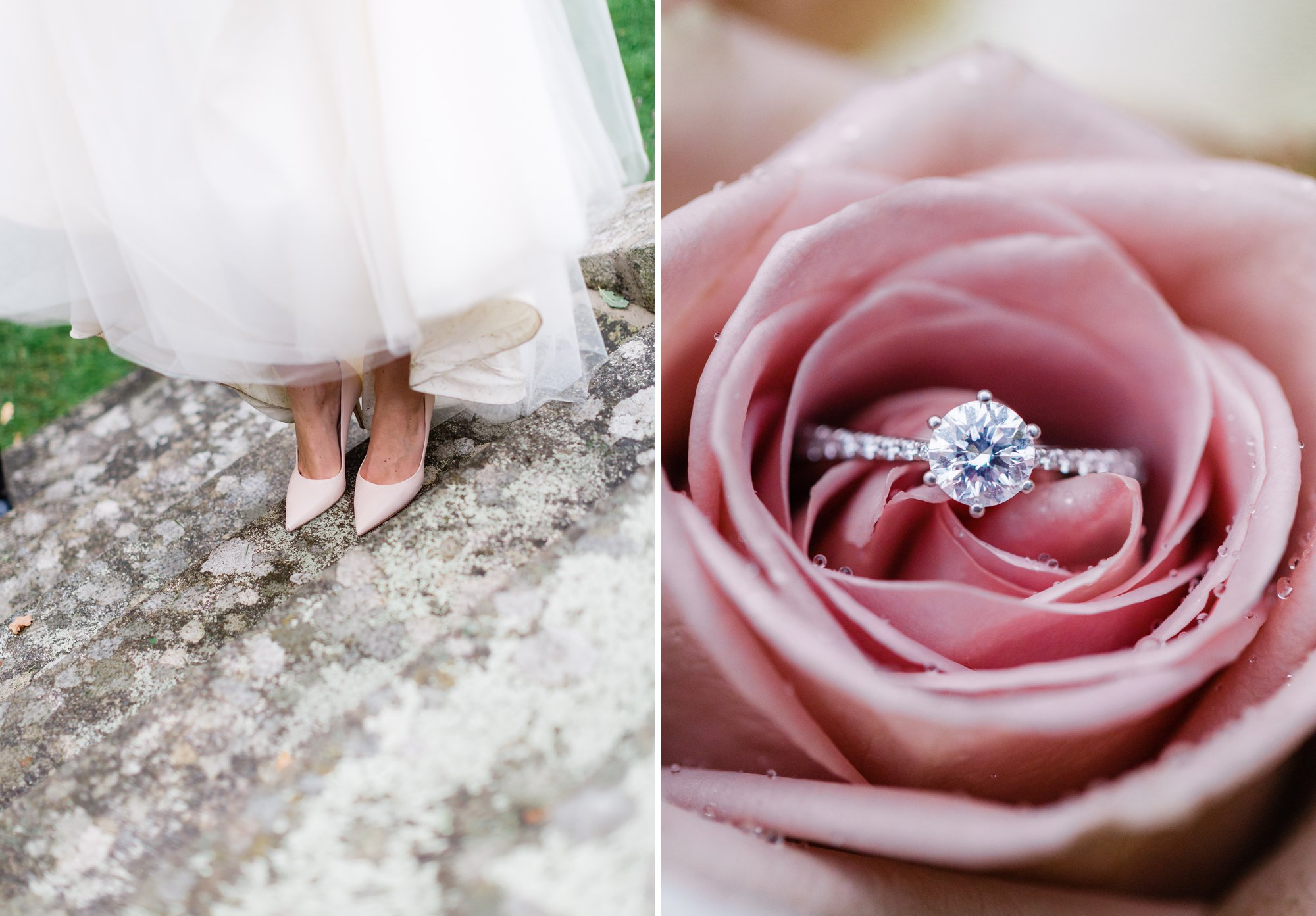 Bridal shoes and engagement ring inside pink rose from a wedding in Sweden